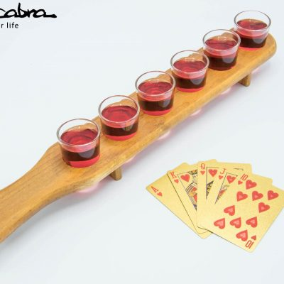 Wooden Shot Glass Server with our Gold Playing Cards by Supracabra.com - Fun your life
