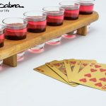 Wooden Shot Glass Server with our Gold Playing Cards close up by Supracabra.com - Fun your life