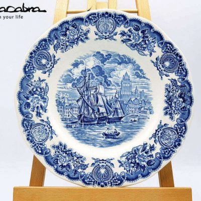 Historical Ports of England Blue Plate by Supracabra.com - Fun your life