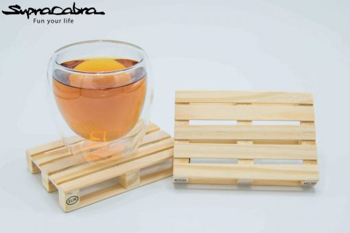 Pallet Coasters (Set of 4) with our Double Walled Glass by Supracabra.com - Fun your life