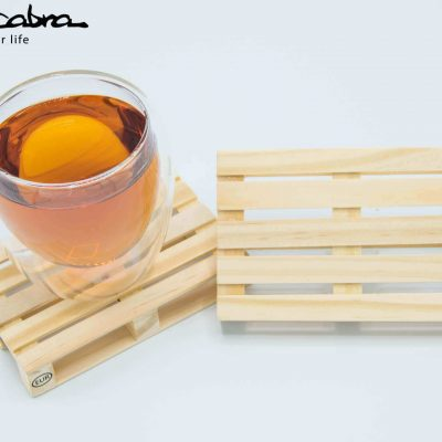 Pallet Coasters (Set of 4) with our Double Walled Glass top view by Supracabra.com - Fun your life